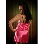 plus size-2011 Sexy Pink Satin Chemise With Lace Bust  S-6XL Clearance-Nine X